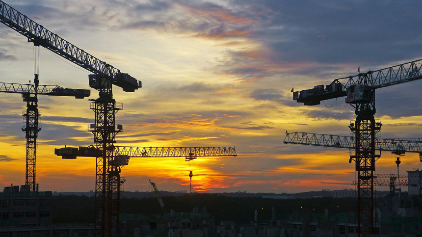 construction in sunset