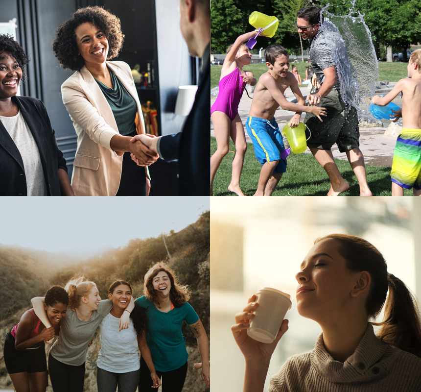 Collage of productive workers, happy family, relaxed woman and happy friends.